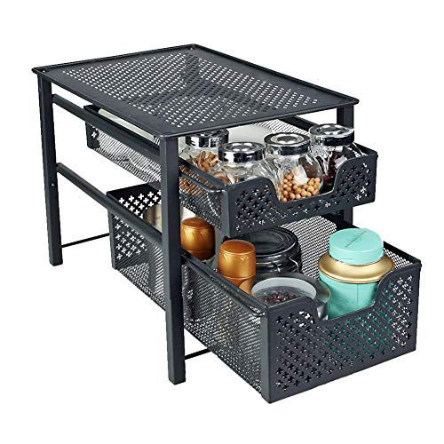 (Stackable 2 Tier Organizer Baskets with Mesh Sliding Drawers, Ideal Cabinet, Countertop, Pantry, Under the Sink, and Desktop Organizer for Bathroom,Kitchen, Office.)