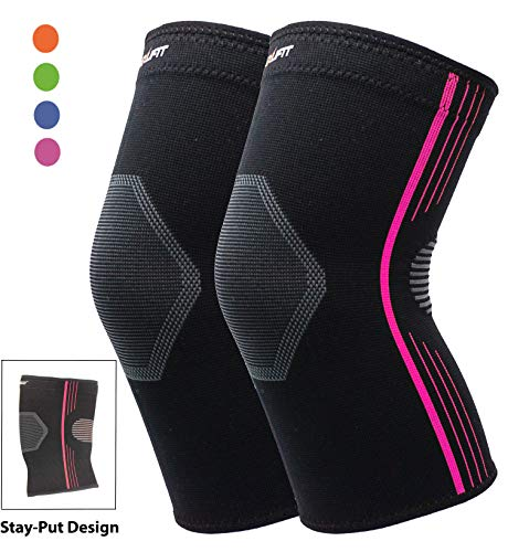 High Compression Knee Sleeve for Women Plus Size Premium Knee Brace Crossfit Stay-Put Breathable for Running Basketball Squats Weightlifting Arthritis and Meniscus Tear – 4 Colors (Purple, XL 2-Pack)
