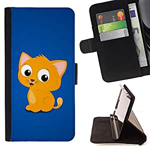 - Cute Cat - - Monedero PU titular de la tarjeta de cr????dito de cuero cubierta de la caja de la bolsa FOR Apple Iphone 5 / 5S RetroCandy