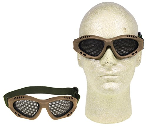 PForce (2-Pack) Airsoft Adjustable Metal Mesh Wire Shooting Goggles (Tan) Safety Eye Protection Gear Shooting Protection Shooting glasses Mesh Goggles Anti-Fog Steel Mesh Shooting Hunting Paintball by PForce