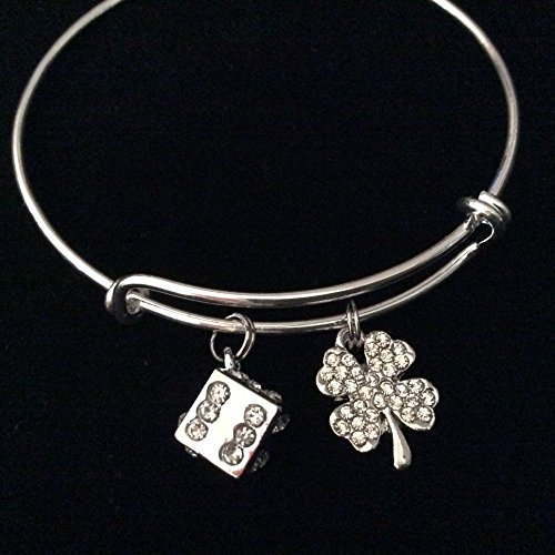 (Rhinestone Crystal Dice and Four Leaf Clover Charm on Silver Expandable Bracelet Adjustable Wire Bangle Trendy Casino Gift)