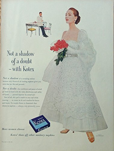 Gown Napkins - Kotex Napkins, 50's Scarce print ad. Full Page Color Illustration. (beautiful woman, gown by Nettie Rosenstein) original 1952 Life Magazine Art