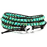 MOWOM Green Alloy Genuine Leather Bracelet Bangle Cuff Rope Simulated Turquoise Bead 3 Wrap Adjustable