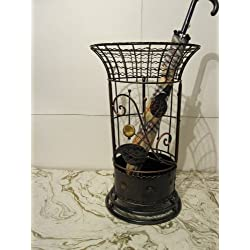 Antique Style Round Brown Umbrella Stand Rack Free Standing for Canes - Walking Sticks