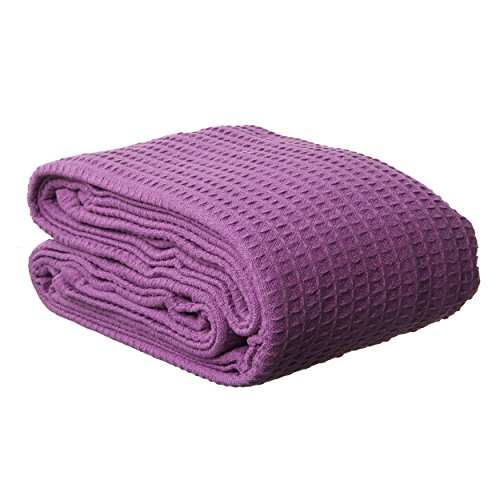 Single Piece Full Queen Purple Woven Waffle Weave Blanket, Solid Color Pattern, Knit, Cotton, Contemporary Classic Style, Pliable & Comfortable, Self-Binding Edging, Machine Washable, Dark Purple (Waffle Blankets)