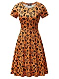FENSACE Womens Casual Orange Pumpkin Printed Midi Dress