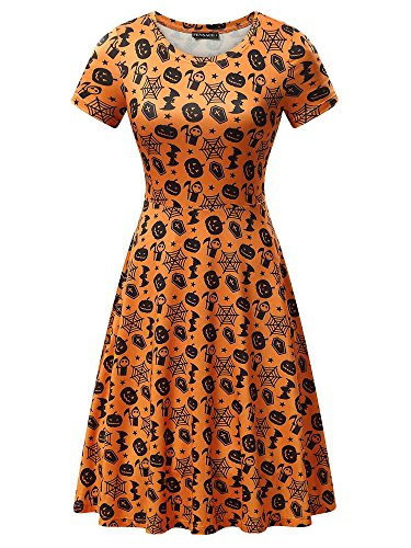 FENSACE Womens Short Sleeves Casual A-Line Halloween Pumpkin Dress,X-Large, -
