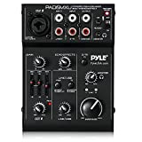 USB Audio MIxer DJ Controller - 3 Channel USB Mixer Sound Audio Recording Interface with XLR and 3.5 mm Microphone Jack, Line In RCA, Rechargeable Battery, Mix Monitoring, Pyle PAD15MXU