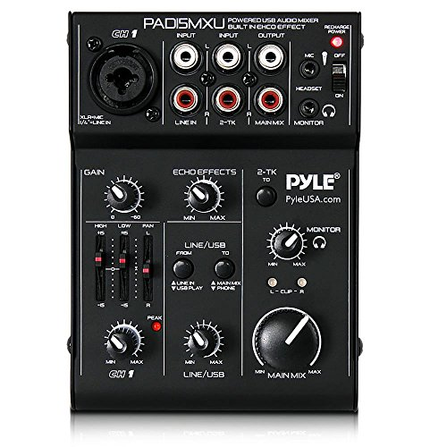 Pyle USB Audio Mixer DJ Controller - 3 Channel USB Mixer Sound Audio Recording Interface with XLR and 3.5 mm Microphone Jack-PAD15MXU