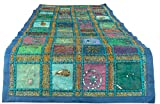Blue Table Runner 100% Cotton 18'' x 58'' Hand Embroidered Boho Bohemian Colorful Patchwork Indian Decoration Reception Party Wedding Decor Tapestry
