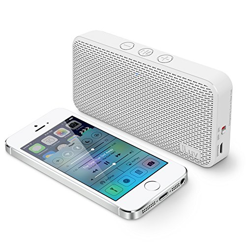 iLuv Aud Mini Ultra Slim Pocket-Sized Powerful Sound Bluetooth Speaker for iPhone, iPad, Samsung GALAXY Series, Note, Tablet, LG, Google Android phone, other Bluetooth Devices and Echo Dot(White) by iLuv