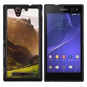 Ilustración de la montaña- Metal de aluminio y de plástico duro Caja del teléfono - Negro - Sony Xperia C3 D2533 / C3 Dual D2502