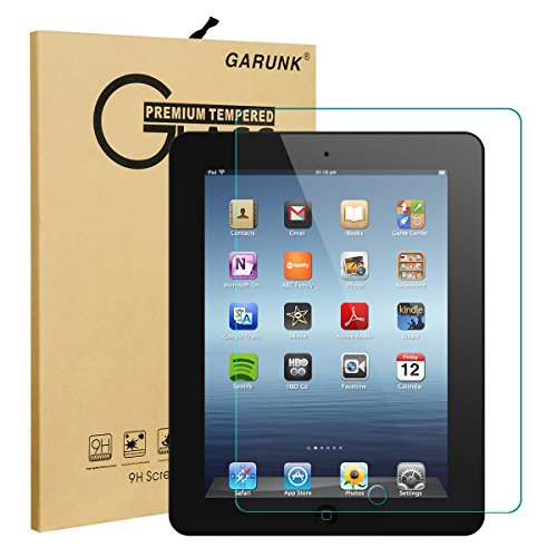 Screen Protector for iPad 2 / iPad 3 / iPad 4, GARUNK Tempered Glass Screen Protector [9H Hardness] [Crystal Clear] [Scratch Resist] [Bubble Free Install] for iPad 2 3 4 Gen 9.7-inch (2nd Generation Screen)