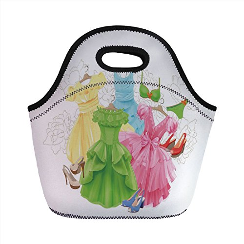 Neoprene Lunch Bag,Heels and Dresses,Princess Outfits Bikini Shoes