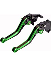 WildBee Double Colors Black Green Short Adjustable Motorcycle Brake and Clutch Levers Set for Kawasaki ZX10R 2006-2015, Z1000SX/NINJA 1000/Tourer 2011-2016