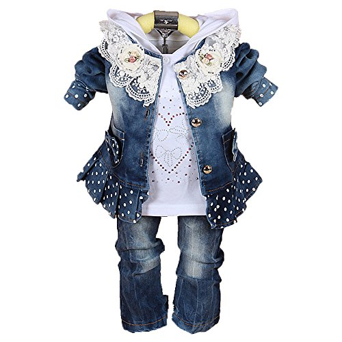 (Baby Girls Denim Clothing Sets 3 Pieces Sets T Shirt Denim Jacket and Jeans (2-3Years) )
