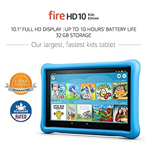 "Fire HD 10 Kids Edition Tablet, 10.1"" 1080p Full HD Display, 32 GB, Blue Kid-Proof Case"