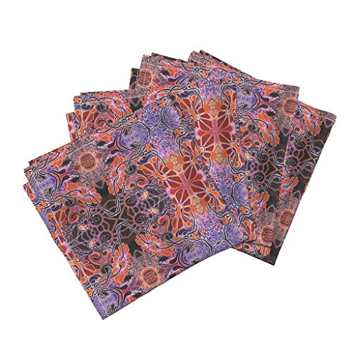 Roostery 2084 Linen Cotton Dinner Napkins Daisy Chain On Fire by Edsel2084 Set of 4 Cotton Dinner Napkins Made