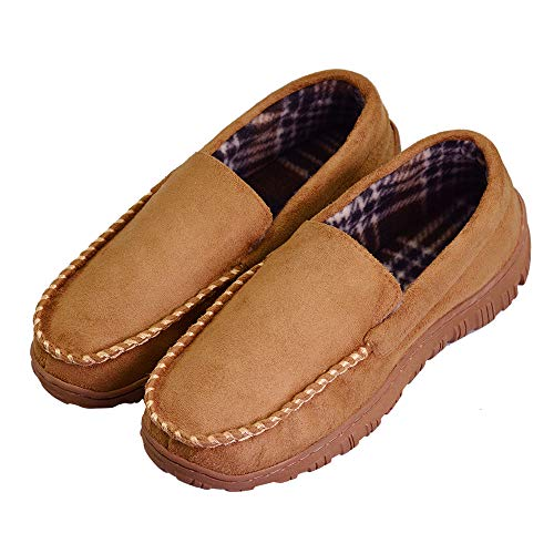 VLLY 2018 Men's Pile Lined Microsuede Bedroom Outdoor Slip On Moccasin House Flat Slippers US 11 Beige -
