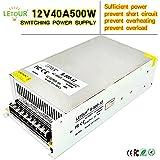 LETOUR DC 12V Power Supply 40A 500W AC 96V-240V Converter DC 12Volt 40Amp 500Watt Adapter LED Power Supply for LED Lighting,LED Strip,CCTV