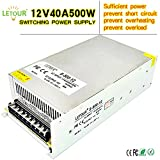 LETOUR DC 12V Power Supply 40A 500W AC 96V-240V Converter DC 12Volt 40Amp 500Watt Adapter LED Power Supply for LED Lighting,LED Strip,CCTV