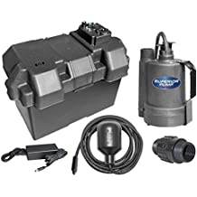 Superior Pump 92900 Powered Battery Back Up Sump Pump With Tethered Switch, 12V DC