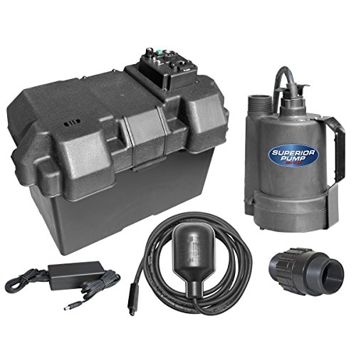 Superior Pump 92900 12V Battery Back Up Submersible Sump Pump with Tethered - Pump Sump Backup Emergency