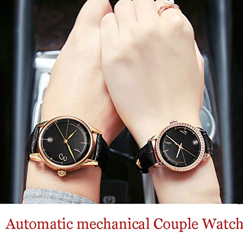 N·XHXL 2 st automatiska mekaniska parklockor för män kvinnor, hans eller hennes vattentäta armbandsur, äkta läderrem