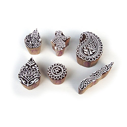 Krishna and Ganesha Hand Made Pattern Wood Stamps for Printing (Set of 6)