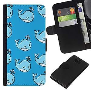 KingStore / Leather Etui en cuir / Samsung ALPHA G850 / Enfants Dessin Bleu enfants'S
