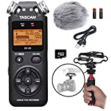 Tascam DR-05 Portable Handheld Digital Audio Recorder Bundle with Movo Deadcat Windscreen, Shockmount, Camera Mount and Mic Grip (Version 2 / Black)