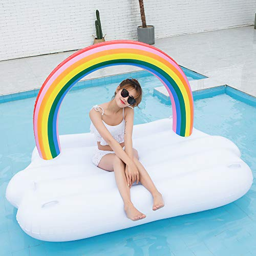 TechCode Inflatable Pool Float, Multi-Purpose Summer Inflatable Bad Portable Pool Float Mattress Sunbathe Comfort Lounge Bad Beach Mat Water Party Inflatable Float Holiday Toy,83x57x53 inch by TechCode (Image #7)