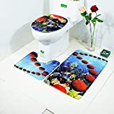 Deep Sea, Shells and Dolphins Bath Rugs Printed Area Rugs Slip-Resistance Toilet Mat Three-Piece Sets Absorbent Indoor Decoration U-Shaped Toilet Mat