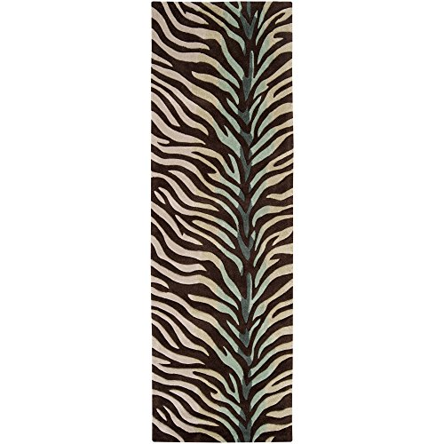 Surya Cosmopolitan COS-8865 Contemporary Hand Tufted 100% Polyester Hot Cocoa 2'6'' x 8' Animal Runner by Surya
