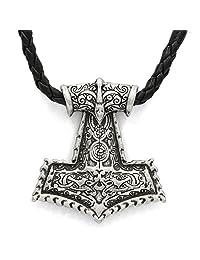 TTKP Amulet PENDANT Necklace Vikings Raven Thor's Hammer Pendant Necklace Original Animal Viking Jewelry