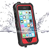 iPhone 5 5S SE Waterproof Case, ZVEproof IP68 iPhone SE 5S 5 Waterproof Shockproof Dirtproof Snowproof Screen Protector Cover for Snow Skiing Swimming (Red)