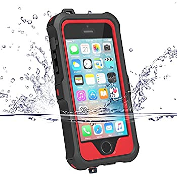 ZVE iPhone 5S / SE Waterproof Case, Waterproof Dust Proof Snow Proof Shock Proof Case with Touched Transparent Screen Protector, Heavy Duty Protective Carrying Cover Case for iPhone 5 5s SE (Red)