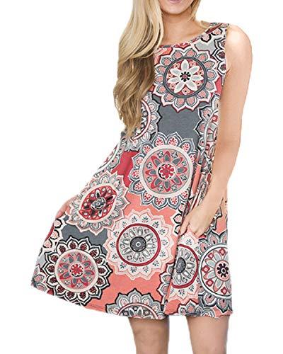 Cotton Petite Sundress - Women Casual T-Shirt Summer Dresses Floral Bohemian Dress Swing Boho Sundress Sleeveless with Pockets(Grey,M)