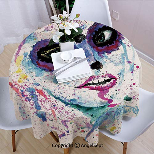 AngelSept Round Tablecloth,Grunge Halloween Lady with Sugar Skull Make Up Creepy Dead Face Gothic Woman Artsy,70