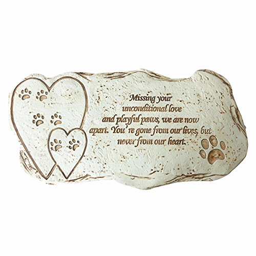 JHB Pet Memorial Dog Stone, Hand-Printed Personalized Loss of Pet Gifts (Memorial Pet Personalized Stone)