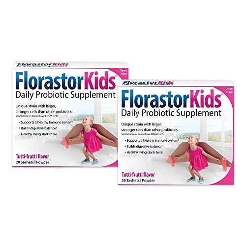 Florastor Daily Probiotic Supplements for Boys and Girls – Saccharomyces boulardii lyo CNCM I-745 (250 mg; 20 Sachets), Pack of 2