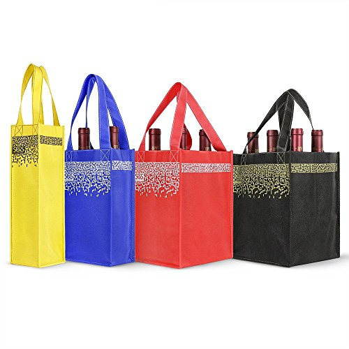 - Reusable Wine Bottle Tote Bags - Set of 4 - Maze