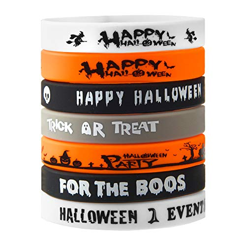 FEPITO 35 Pcs Halloween Wristband Silicone Wristbands 7 Classic Halloween Patterns Rubber Band Bracelets -