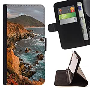 - Ocean Seas - - Premium PU Leather Wallet Case with Card Slots, Cash Compartment and Detachable Wrist Strap FOR Sony Xperia M2 s50h Aqua King case