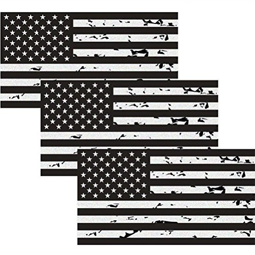 Car Decal Vinyl American Sticker (Reflective Subdued Tattered American Flag Sticker 2.7