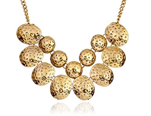 Gold Retro Artisanal Abstract Organic Geometrical Round Choker Chain Necklace (Necklace Huntress)