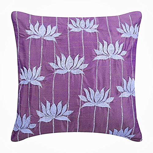Designer Purple Accent Pillows, Lotus Flower Embroidered Pillows Cover, 14