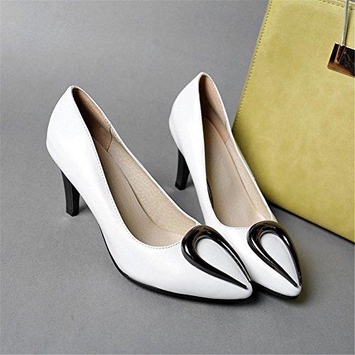 Mujeres Zapatillas Corte Zapatos Puntiagudo Dedo del pie Estilete Señoras Alto Tacón Blanco rojo Boda Fiesta Vestir Blanco