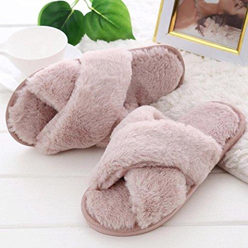 Zolimx Damen Soft Fluffy Faux Pelz Flach Slipper Rosa