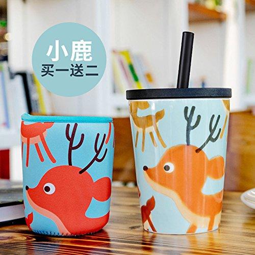 MOCER Keramik Tasse Tasse große Kapazität Cute Cup kreative Schale mit Deckel Stroh Schale, Hirsche
